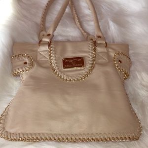 Bebe Cream Gold Chain Purse